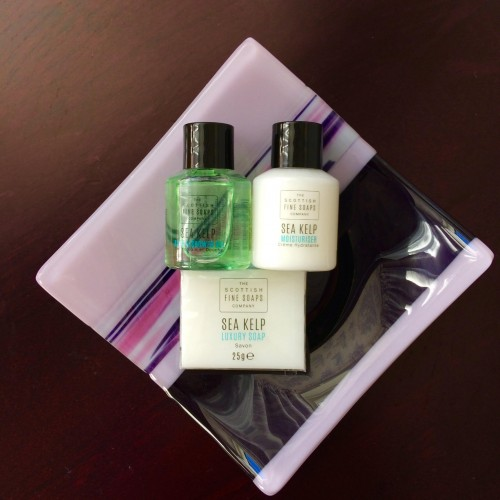 A plate of luxury toiletries, with Sea kelp extract, that are complementary at Park House
