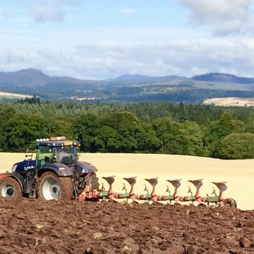 Tractors ploughing the fields next to Park House with a good view of Highland Perthshire behind